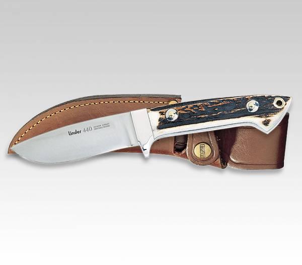 LINDER Jagdmesser mit Griff aus original Hirschhorn, Klinge 9 cm, mit Stecketui