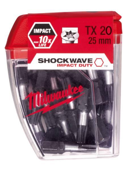 Milwaukee Torx Schrauberbits TX20 Shockwave - 25 Stück