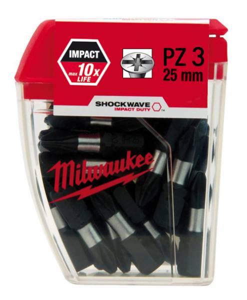 Milwaukee Shockwave Schrauberbits PZ3, 25 Stück