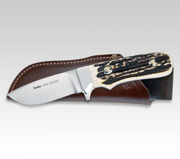 LINDER Jagdmesser mit Griff aus Echt-Hirschhorn, Klinge 8 cm