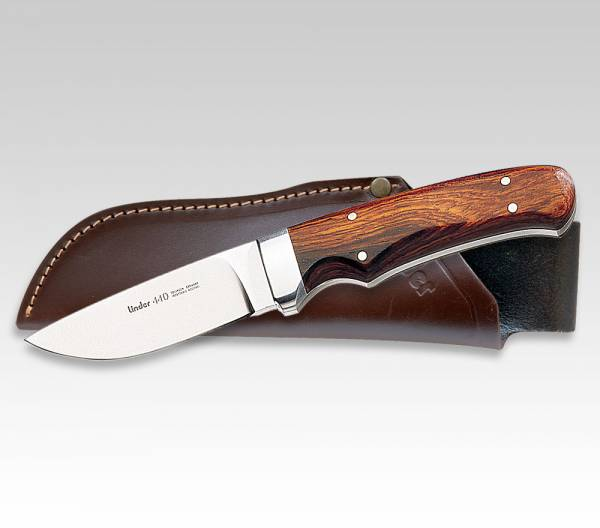 LINDER knife with Cocobolo wood handle, blade 9 cm, leather case