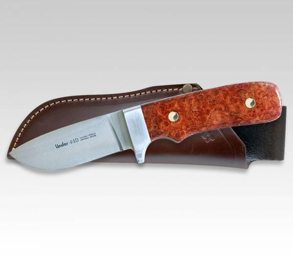 LINDER Jagdmesser mit Griff aus Amboinaholz, Klinge 8 cm
