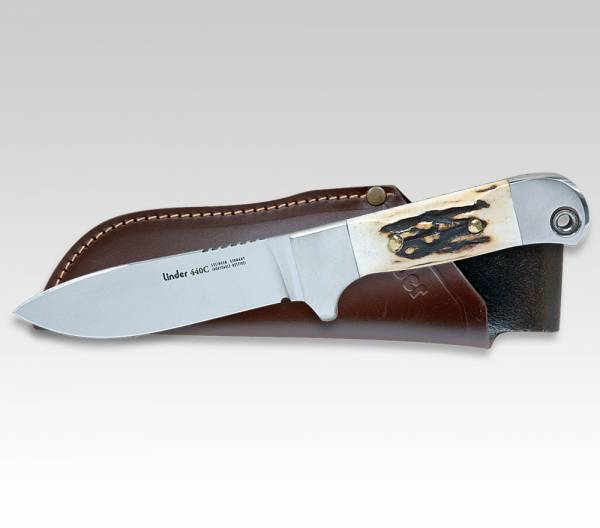 LINDER hunting knife with handle of stag horn blade 4""