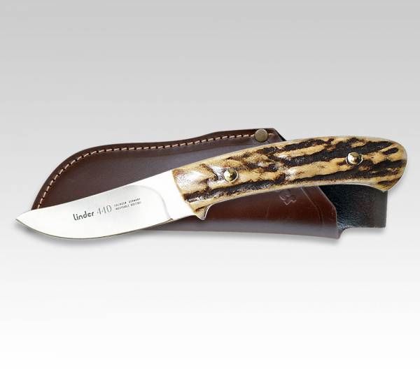 LINDER skinner knife with handle made ​​from real deer horn, blade 6 cm
