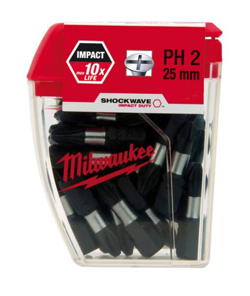 Milwaukee Shockwave Screwdriver Bits PH2, 25 pieces