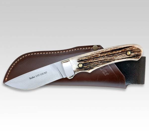 LINDER Jagdmesser mit Griffschalen aus echtem Hirschhorn, Klinge 9 cm, Abb. ähnlich
