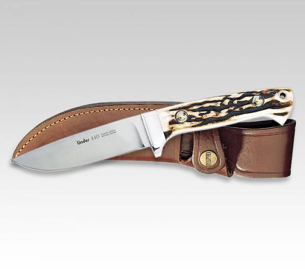 LINDER Jagdmesser mit Griff aus original Hirschhorn, Klinge 10 cm, mit Stecketui