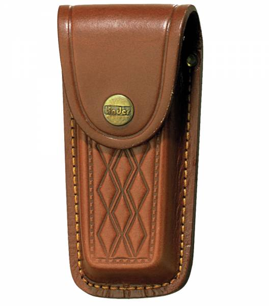 Leather case with embossment for pocket knives, max 12 cm in length