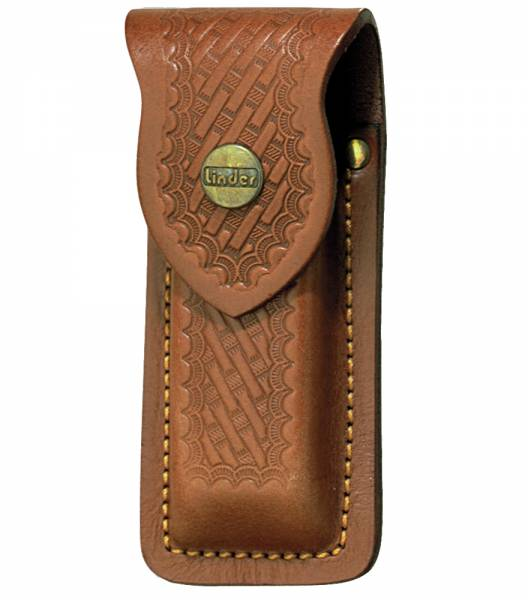 Leather pouch with embossment, for pocket knives, max 11 cm in length