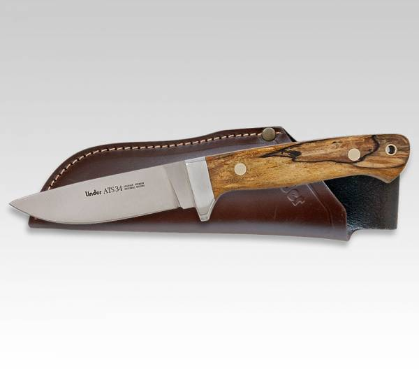 Linder, ATS34 HUNTER2, hunting knife with handle made of beech wood