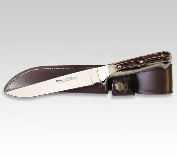 LINDER klassisches Wildtöter-Messer mit Griff aus Hirschhorn, Klinge 15 cm