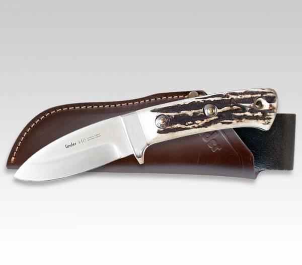 LINDER Jagdmesser mit Griff aus Original-Hirschhorn, Klinge 8 cm